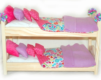 Double Doll Bunk Bed OOAK  - Pink and Purple! American Made Girl Doll Bunk Bed - Fits 18 inch dolls and AG dolls