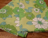 Pair of Vintage Mod Green Floral Pillowcases