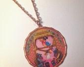 Enchanted Tiki Pendant - hand painted pendant copper