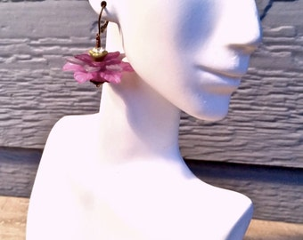 Feminine  fluffy frilly purple flower earrings Vintage beads