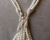 Vintage 2 Strand Pearl Lariat Style Necklace w/ Rhinestone Accent