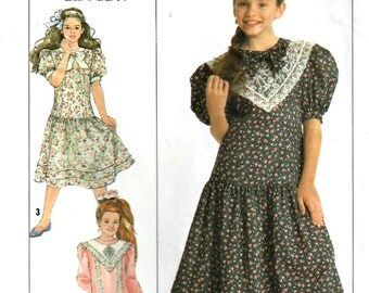 1980s Pattern Girls Prairie Dress Jessica McClintock for Gunne Sax   Simplicity 9425 Multi Size 7 8 10