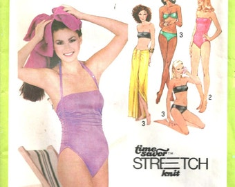 Swimsuit Bikini Pattern and Wrap Cover-Up Simplicity 9002 1970's Vintage Multi-Size 8,10,12