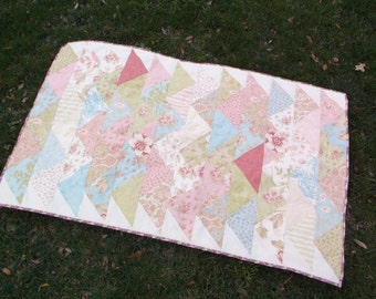 Pastel triangles table runner quilted flying geese runner