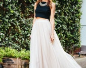 Long Ivory mesh skirt, maxi skirt, tutu skirt