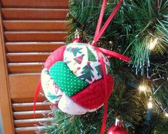 Christmas Decoration, Patchwork Christmas Ornament, Christmas Tree, Gift Under 10, Primitive Christmas
