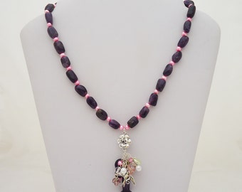 Amethyst Necklace, Amethyst and Pearls Necklace, Amethyst Necklace with Cluster Pendant, Purple Stone Necklace, Beaded Necklace, Gemsone