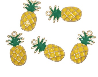 5 pcs. Pineapple Fruit Gold Plated Enamel Charms Pendants - 23mm X 12mm