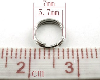 SALE - 500 pcs Double Rings - Silver Tone Open Jump Split Rings - 7mm - 22 Gauge
