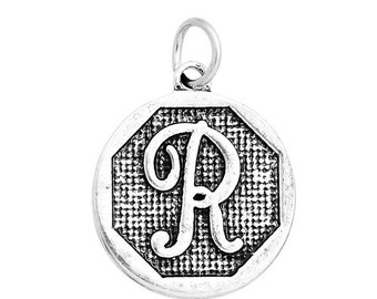 "1 or 4 pcs. Antique Silver LARGE Letter ""R"" Alphabet Letter Charm Pendant -  23mm x 20mm - Stamped Design"