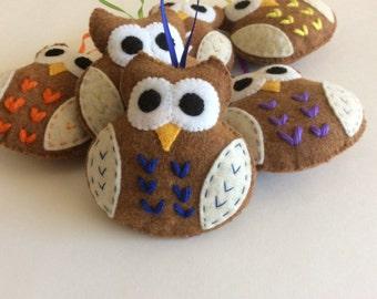 Plush Felt Owl - Blue owl favor ornaments