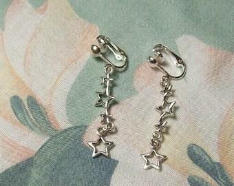 Tibet Silver Four Star Dangle Clip on Earrings or Pierced