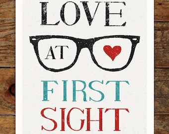 Vintage Glasses, Love at First Sight, 11x14 Art Print