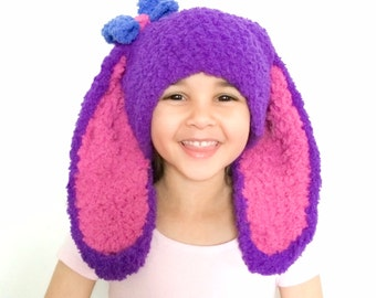 5T to Teen Kids Bunny Hat, Bow Hat, Purple Bunny Ears, Bow Girls Hat, Bow Bunny Beanie, Crochet Hat Childrens Hat Girl Costume Costume