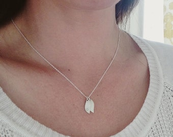 Silver leaf necklace, personalized necklace, initial necklace, silver initial necklace, leaf initials