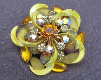 brooch, rhinestone brooch, rhinestone jewelry, yellow brooch, flower brooch, flower jewelry, statement brooch, statement jewelry, gifts