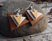 Leather Earrings Silver Yellow White Brown Layered Handmade, Triangle Earrings, Leather Jewelry, Christmas Gifts, Gifts for Her, Hippie Gift