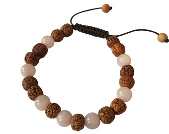 Tibetan mala Rudraksha rose quartz wrist mala yoga bracelet for meditation