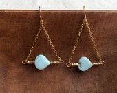 Amazonite triangle geometric tear bead earrings with 18k Gold Filled chain / FREE gift wrapping