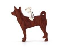 Wood Basenji Pendant, Basenji Dog Necklace, Wooden Breed Dog Jewelry, Sapele