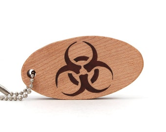 Biohazard Key Chain, Science Accessories, Medicine Key Ring, Microbiology Keychain, Wood Scroll Saw Keyring, Walnut Hand Cut