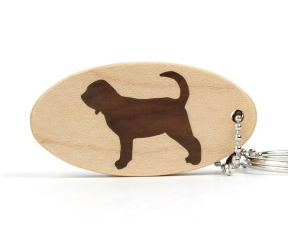 Bloodhound Key Chain Wood Dog Key Ring Wooden Pet Accessories Bloodhound Dog Key Ring Dog Breed Key Ring Walnut