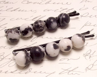 Zebra Stone Beaded Bobby Pins. Neutral Textured Hair Accessories. Black and White Hair Pins.