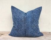 """22"""" x 22"""" Ethnic Hand Block Print Pillowcase Tradition Design Ethnic Indigo Cushion Chic Pillow Cover Same fabric front and reverse"""