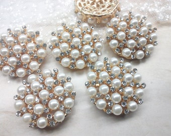 30 mm Large Ivory Pearl Gold Metal Rhinestone Buttons  Bridal Embellishment