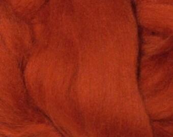 Superfine Merino Wool Top - 19 micron - Rust - 4 ounces