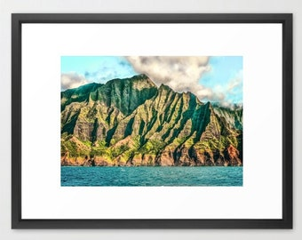 Hawaii Art, Na'Pali Coast, Kauai, Hawaii, Turquoise, Green, Ocean, Tropical, Island, Fine Art Photography, fPOE, Mountains, (6 sizes)