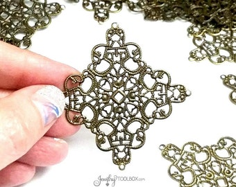 Filigree Chandelier Finding, Antique Bronze, Iron Jewelry Making Supplies, Bendable and Moldable, 55mm Diamond, Lot Size 10 to 30, #2071