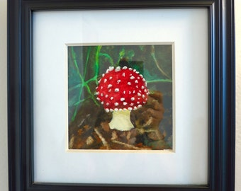 Red Toadstool Mushroom Original Watercolor Painting Framed, Fairyland mushroom housewarming wall art, Smurfs housewarming gift watercolor