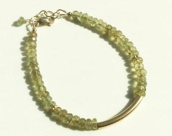 Green Apatite 14kt Gold Filled Bracelet, Vermeil gold