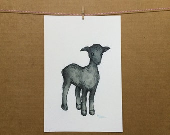 Watercolor/Ink-Animal-Black Sheep