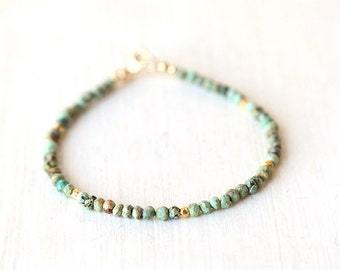 Tibetan Turquoise Gemstone Bracelet with Accents of Gold Nuggets / Stackable Gemstone Bracelet
