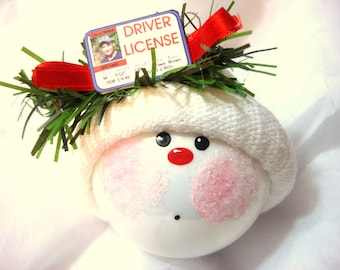 Driver License Ornament New Driver Sample Personalized Hand Painted Townsend Custom Gifts