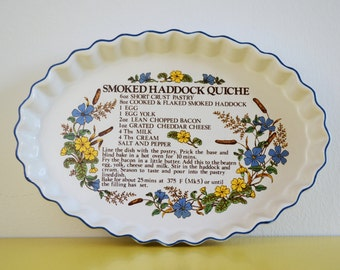 Vintage Ulster Quiche Dish, SALE, Smoked Haddock Quiche Recipe Plate, Vintage Ceramic Quiche Plate, Ulster Ceramics Dish, Quiche Plate