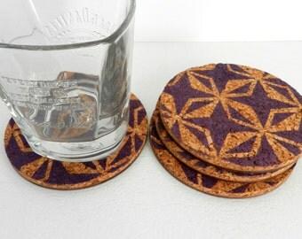 Geometric Cork Coasters - Round Coaster Set - Housewarming Gift - Wine Lover Gift - Modern Coaster Set - Coffee Lover Gift - Beer Coasters