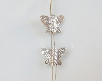 2pcs Sterling silver butterfly spacer, .925 sterling silver butterfly beads (14x10mm)