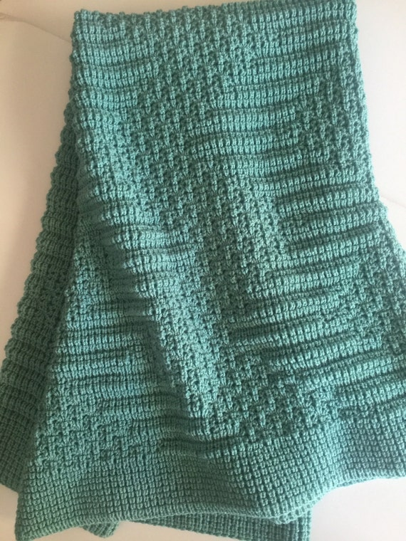 Knitted Blanket, Afghan/Throw , Mint Green, New Color