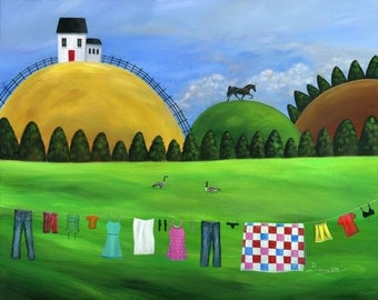 Original Painting Hilly Hold the Line - 24x30 - A Clothesline in foreground with a horse & Canada Geese in behind - OOAK Acrylic on Canvas