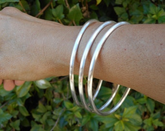 Three EXTRA HEAVY Fine Silver Bangles Each 3mm Thick Stackable .999 Pure Silver Bangle Bracelets