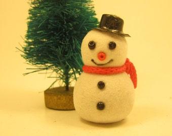 Vintage Miniature Fuzzy Snowman Craft Supplies Embellishment