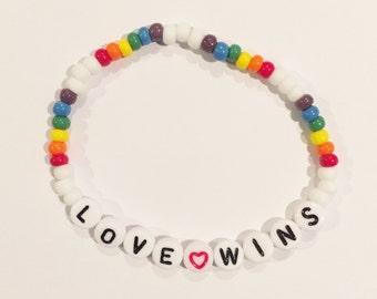 LOVE WINS Beaded Bracelet