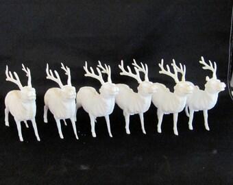 Vintage Celluloid Reindeer Lot - 1940's - 1950's - Christmas Tree Ornament Set of 6