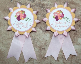 Wedding Bachelorette Party Bride Kentucky Derby Ribbon themed button pin Floral Gold and Pink-  (Quantity 2)