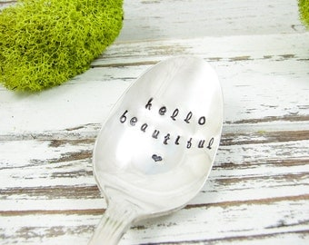 Hello Beautiful. Stamped Vintage Teaspoon. Monogrammed Gift for Her. Valentine's Day Gift. Hand Stamped Vintage Silverware for Gifts. 447SP