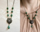Edwardian inspired green bead and bronze filigree pendant necklace dotted with tiny rhinestones, Elegance With Time