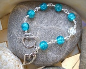 Turquoise and Clear Silver Wire Wrapped Crackle Glass Beaded Bracelet With Heart Charm